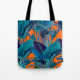 BLUE & CORAL PATTERNED TROPICAL JUNGLE  LEAVES ART Tote Bag