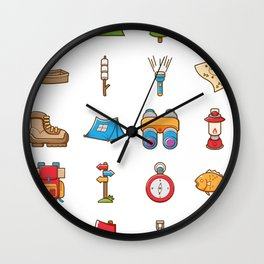 Camping Icon Wall Clock