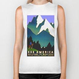 See America Montana - Retro Travel Poster Biker Tank