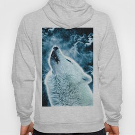 A howling wolf in the rain Hoody