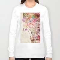 san diego Long Sleeve T-shirts featuring San Diego by MapMapMaps.Watercolors