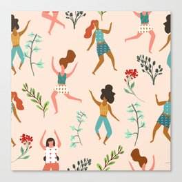 Central Park Zumba #illustration #pattern #womensday Canvas Print