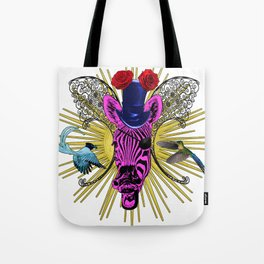 Laughimg zebra trophy head Tote Bag