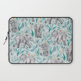 Baby Elephants and Egrets in Watercolor - egg shell blue Laptop Sleeve