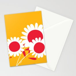 Flowers on Yellow by Friztin Stationery Cards