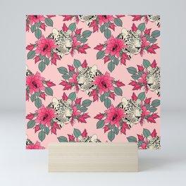 Classy cactus flowers and leopards design Mini Art Print