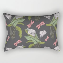 Hand drawn floral dark  - 03 Rectangular Pillow