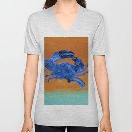 Blue Crab, Sand, Minimalist, Abstract Beach, Coastal Art  Unisex V-Neck