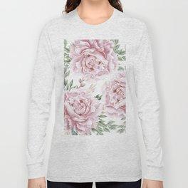 Pretty Pink Roses Flower Garden Long Sleeve T-shirt