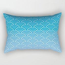 Seigaiha Gradient Blue Rectangular Pillow