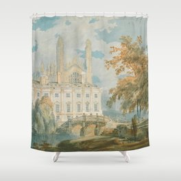"""J.M.W. Turner """"Clare Hall and King's College Chapel, Cambridge, from the Banks of the River Cam"""" Shower Curtain"""