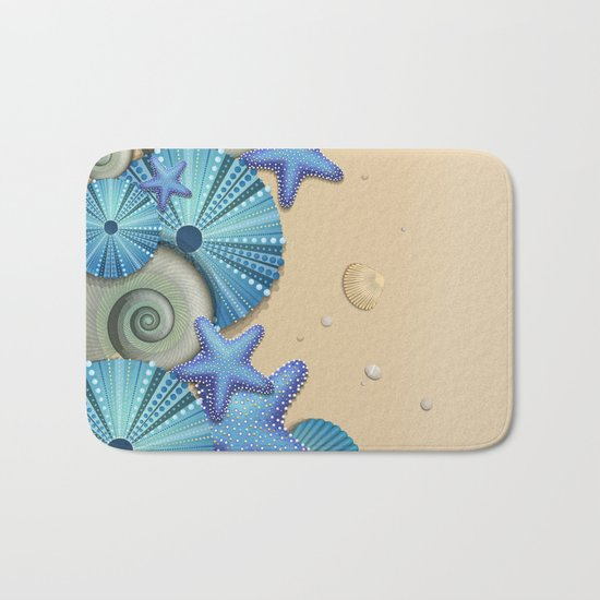 SEA SHELLS ON THE BEACH Bath Mat