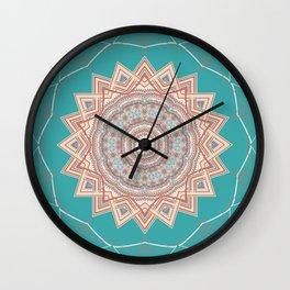Bright Aqua Star Mandala Design Wall Clock
