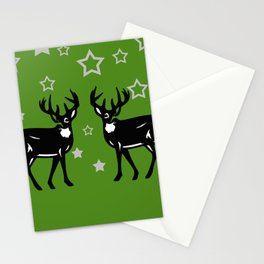 Two Deers with silver Stars - green background Stationery Cards