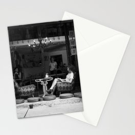 Morning coffee in a cafe - Black and white street photography Stationery Cards