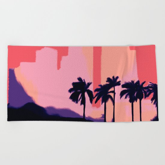 Sunset Time in Miami Beach Towel