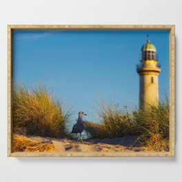 Old lighthouse from Hanseatic city of Rostock Serving Tray