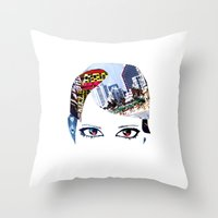 60s Throw Pillows featuring '60s Eyes- Original Color by Katy Rose