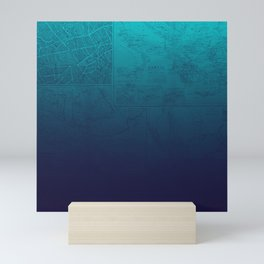 Blue Ombre Map Mini Art Print