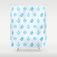 knitting Shower Curtains featuring Sea Knitting #2 by Ornaart