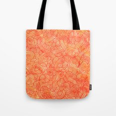 Red and orange swirls doodles Tote Bag