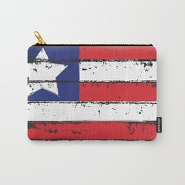 Wood Grain American Flag 4th of July with Fade Print Carry-All Pouch