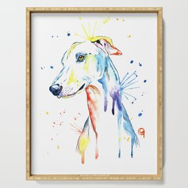 Greyhound Colorful Watercolor Pet Portrait Painting Serving Tray