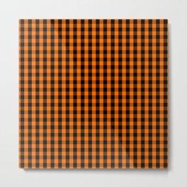Classic Pumpkin Orange and Black Gingham Check Pattern Metal Print