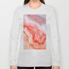 Luxury LIVING CORAL Agate Marble Geode Gem Long Sleeve T-shirt