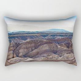 Looking across the Borrego Badlands Canyons towards the Hazy Mountainsin the Anza Borrego Desert Rectangular Pillow