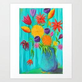 Funky Flowers in a Vase Art Print