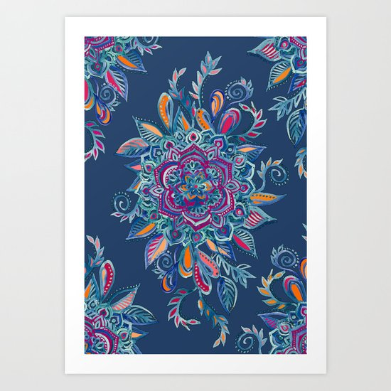Deep Summer - Watercolor Floral Medallion Art Print
