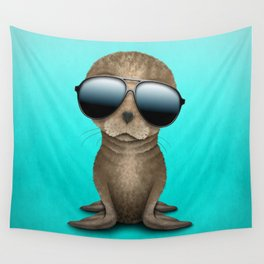 Cute Baby Seal Wearing Sunglasses Wall Tapestry
