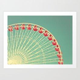 Vintage Ferris Wheel at the Chicago Navy Pier Print Art Print