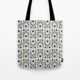 Mid Century Modern Abstract Pattern 149 Gray and Blue Tote Bag