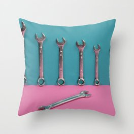 Seven wrenches on a colored background Throw Pillow