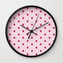 Strawberry Picnic Pattern (pink) Wall Clock