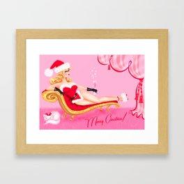 Santa Glamour Girl Framed Art Print