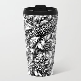 Snake with lilies and arrows (tattoo style) Travel Mug