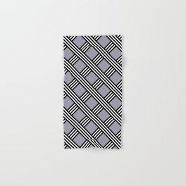Pantone Lilac Gray, Black & White Diagonal Stripes Lattice Pattern Hand & Bath Towel