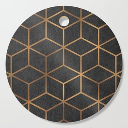 Charcoal and Gold - Geometric Textured Cube Design I Cutting Board