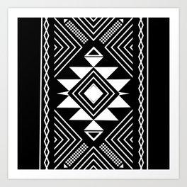 Aztec boho ethnic black and white Art Print