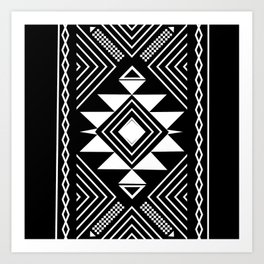 Aztec boho ethnic black and white Art Print