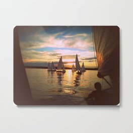 Sunset and small boats Metal Print