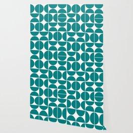 Mid Century Modern Geometric 04 Teal Wallpaper