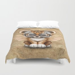 Tiger Cub with Fairy Wings Wearing Glasses Duvet Cover