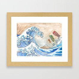 Hokusai's Wave vs. The Electric Jellyfish Framed Art Print