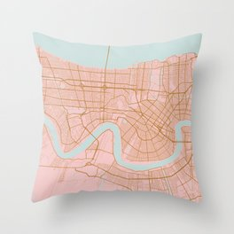 New Orleans map, Lousiana Throw Pillow