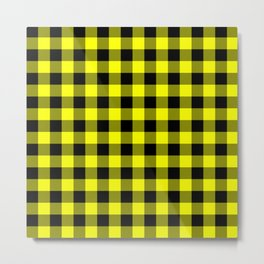Bright Yellow and Black Lumberjack Buffalo Plaid Fabric Metal Print
