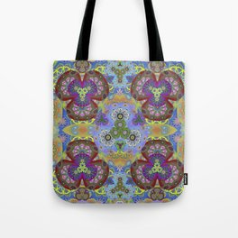 Passion Petals Retro Groovy Kaleidescope Psychedelica Print Tote Bag
